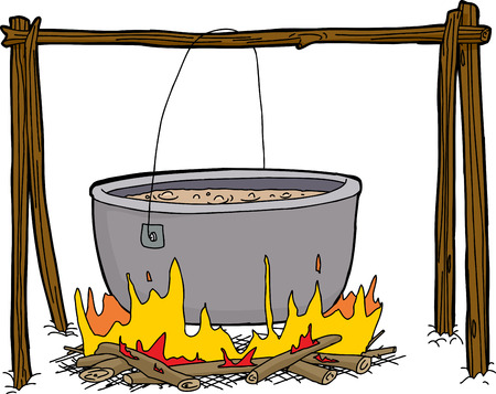 Isolated pot of food boiling in isolated campfire Vettoriali
