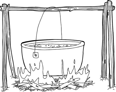 cast iron: Cartoon outline of large kettle hanging over campfire