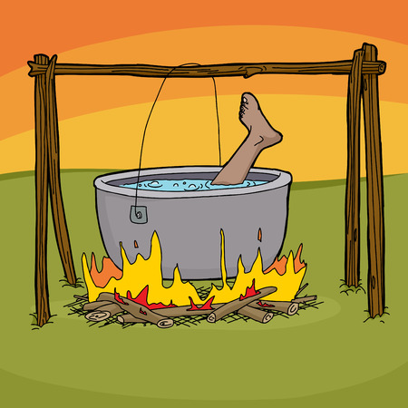 boiling pot: Foot sticking out of boiling pot in bonfire