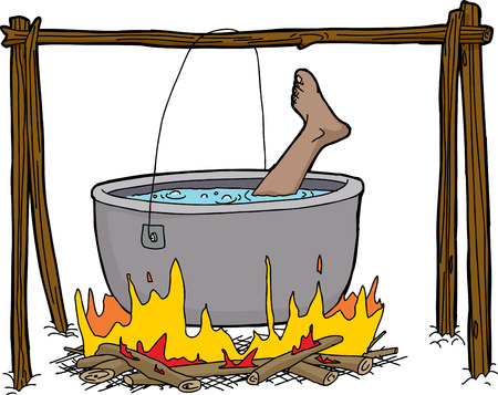 Isolated single foot boiling in campfire kettle