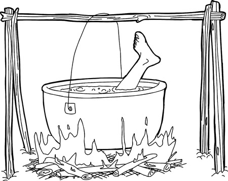 Outline cartoon of human foot boiling in campfire cauldron
