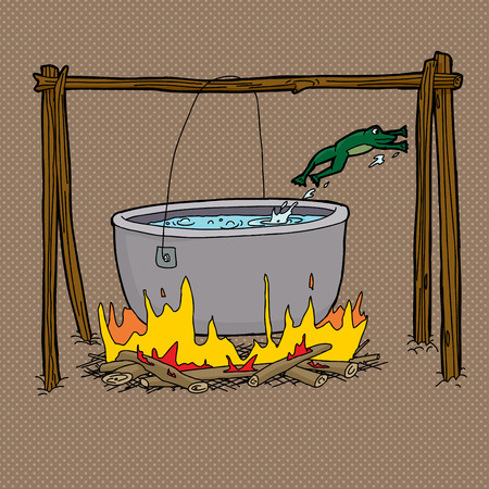 animal abuse: Scared frog jumping out of boiling water in bonfire