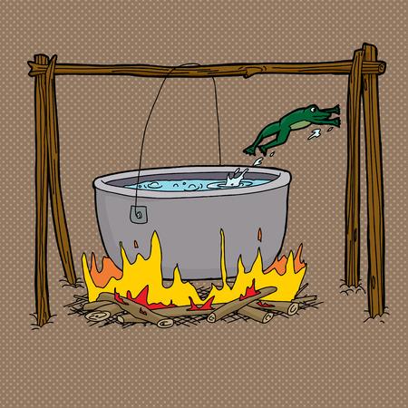 gusseisen: Scared Frosch springt von kochendem Wasser in Lagerfeuer