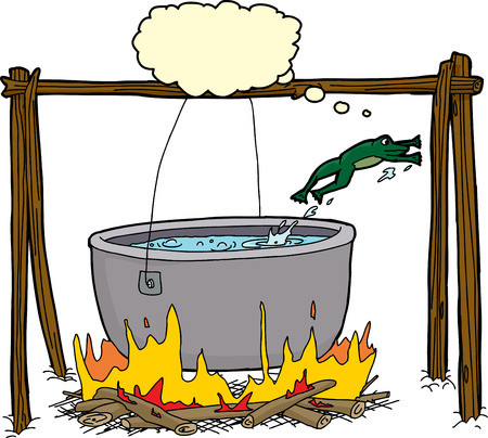 Cartoon of clever frog jumping out of cauldron in bonfire