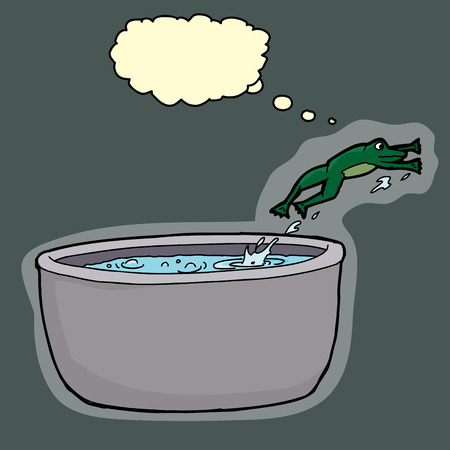 Smart green frog jumping out of boiling pot of water