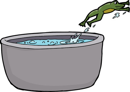Cartoon of frog leaping out of pot of boiling water