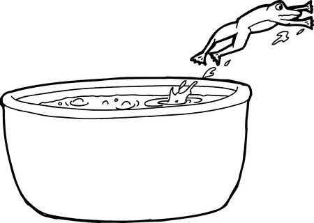 Outline cartoon of frog jumping out of hot cauldron Illustration
