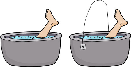 cast iron: Isolated boiling pots with human foot sticking out Illustration