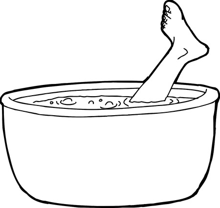 Outline of foot from dead person sticking out of boiling pot of water Illustration