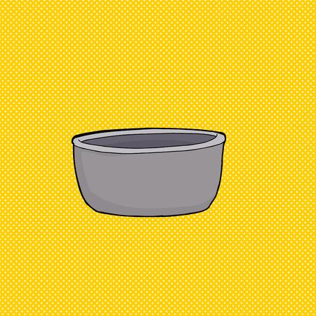 黄色の背景の上灰色の空のボウルの漫画  イラスト・ベクター素材