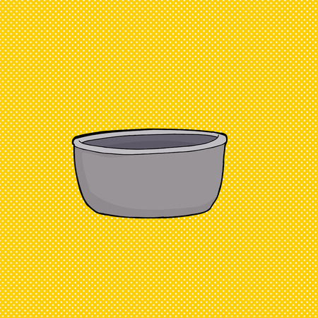 cast iron: Cartoon of empty gray bowl over yellow background Illustration