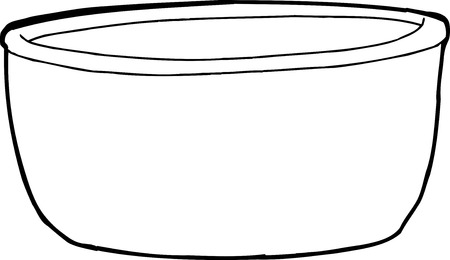 cast iron: Single empty cartoon bowl over white background Illustration