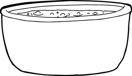 흰색 배경 위에 액체를 끓는 개요 만화 일러스트