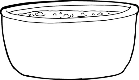 cast iron: Outline cartoon of boiling liquid over white background Illustration