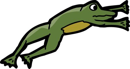 mid air: Isolated cartoon frog in mid air over white background