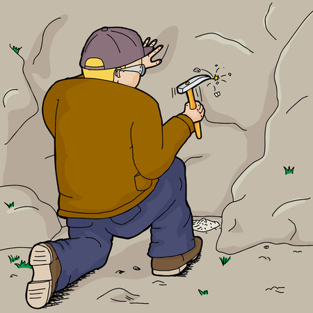 discovering: Blond male geologist collecting rock specimens Illustration