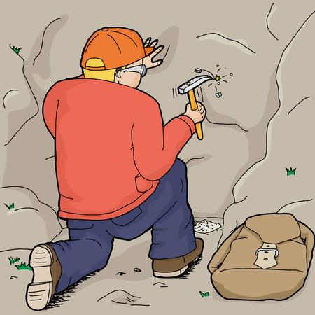 ajoelhado: Dos desenhos animados de ajoelhar geólogo usando martelo da rocha Ilustração