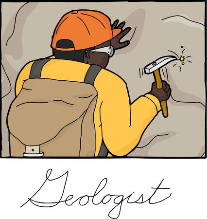man rear view: Frame illustration of Black geologist collecting rock specimen