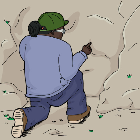kneeling: Cartoon of kneeling Indian female explorer touching rock