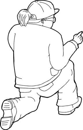 ajoelhado: Rear view of desenhos animados que aponta o dedo mulher ajoelhada