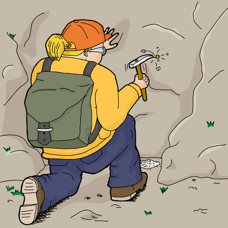 Blond female geologist with backpack using chisel Vector