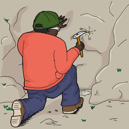 samples: Cartoon of male African geologist collecting rock samples