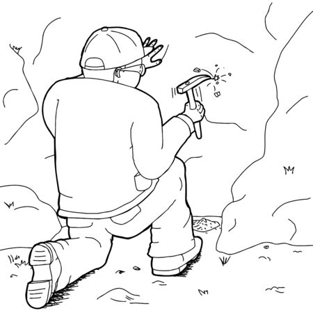 discovering: Outline cartoon of geologist with rock hammer collecting specimens