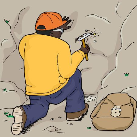 chisel: Black geologist using rock hammer to chisel rock samples