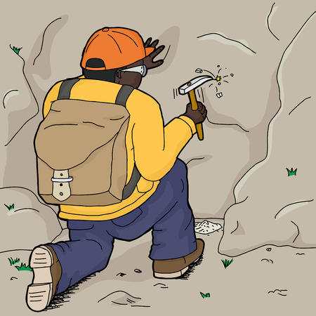 samples: Cartoon of Black geologist collecting rock samples
