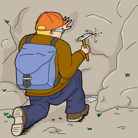European geologist with backpack using rock hammer