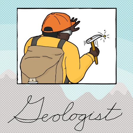 Double exposure illustration of geologist working in frame