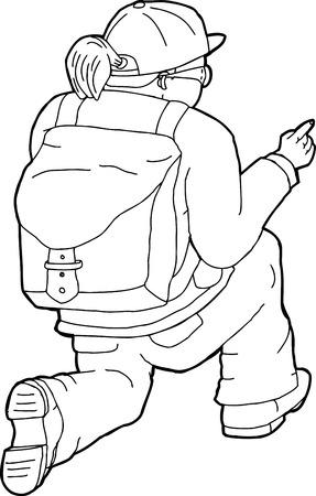 Outline of kneeling female hiker pointing finger Illustration