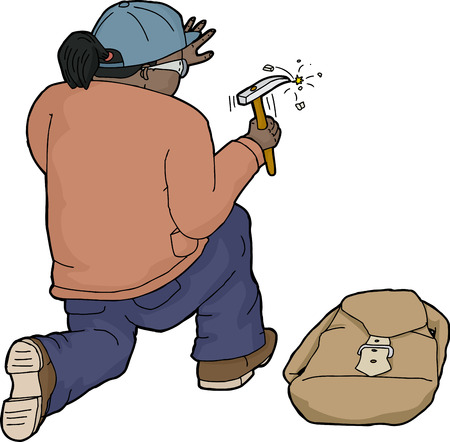 Isolated kneeling geologist with backpack using chisel