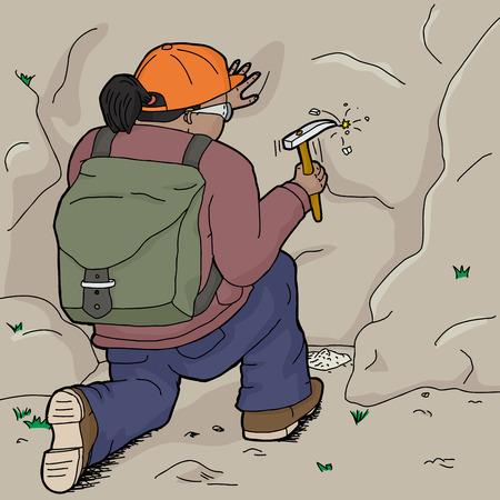 ispanico: Geologo femminile ispanico che lavora con lo scalpello sulla roccia Vettoriali