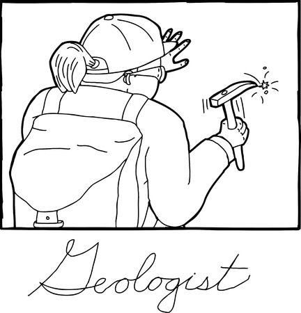 rear view: Hand drawn rear view of female geologist in frame