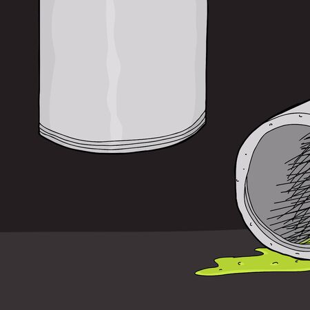 slime: Hand drawn cartoon pipe leaking green slime