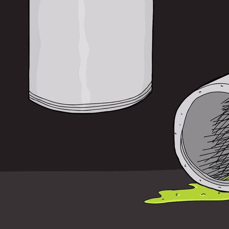 leaking: Hand drawn cartoon pipe leaking green slime