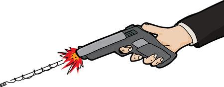 firing: Firing a bullet from pistol over white background
