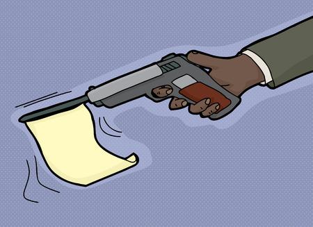 Cartoon of gun firing blank flag from barrel