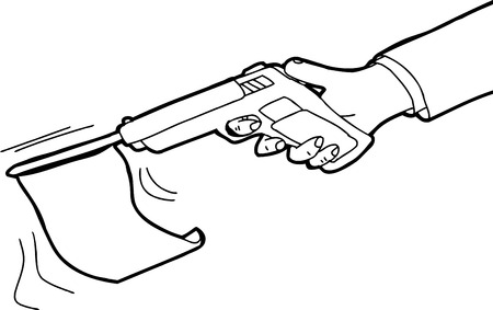 Outlined cartoon of flag shooting out of gun Illustration