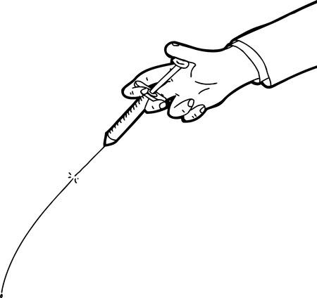 Hand testing syringe outline cartoon over white