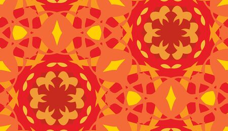 Orange and yellow arabesque seamless wallpaper background