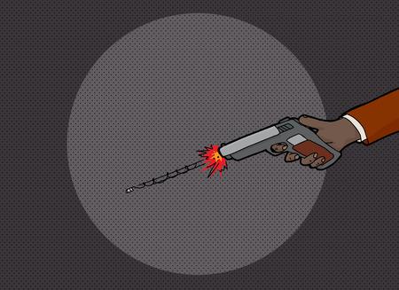 어둠 속에서 신원 미상의 손 발사 권총