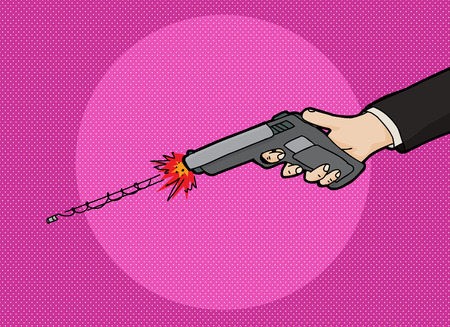 dangerous weapons: Firing a pistol cartoon with fast moving bullet