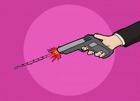 빠르게 움직이는 총알과 함께 권총 만화를 발사.
