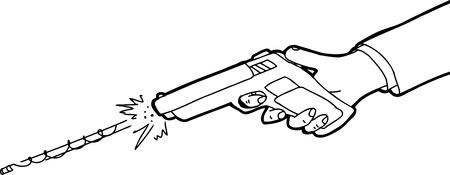 흰색 배경 위에 권총을 발사 손의 윤곽이 만화