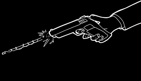 black background: Cartoon of hand firing pistol over black background