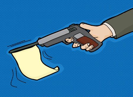 Gun firing blank flag over blue background Illustration