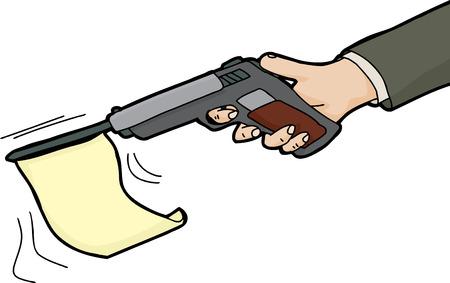 총에서 발사하는 국기의 고립 된 만화