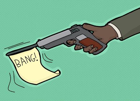 firing: Cartoon of hand firing gun with bang flag